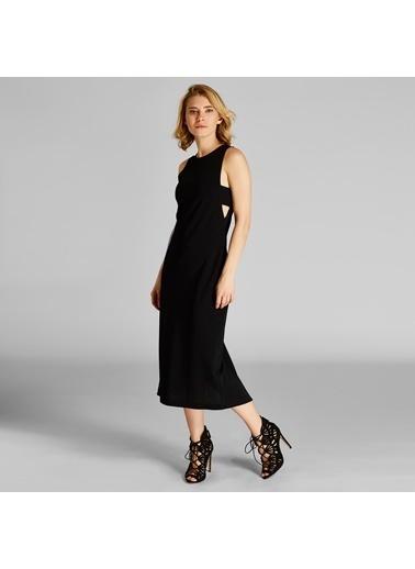 Vekem-Limited Edition Sıfır Yaka Kolsuz Midi Elbise Siyah